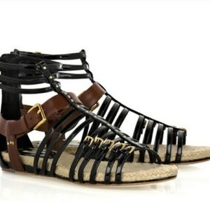 Miu Miu Black Leather Gladiator Sandals